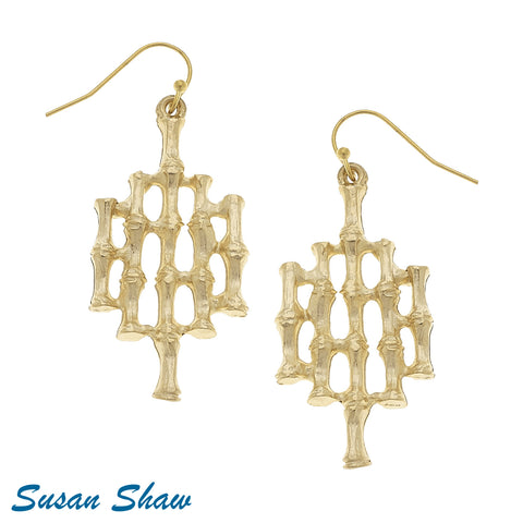 Susan Shaw Handcast Gold Bamboo Earrings