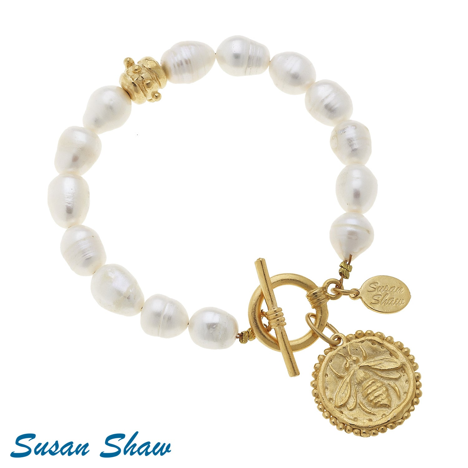 Susan Shaw Handcast Gold Bee Freshwater Pearl Bracelet