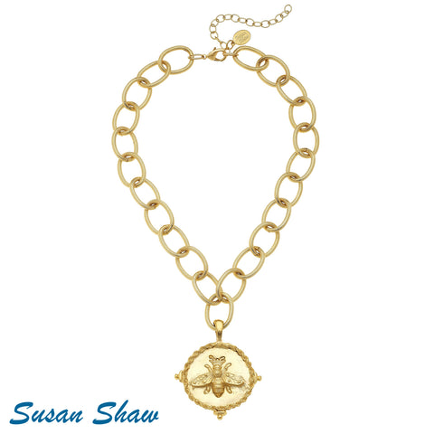 Susan Shaw Handcast Gold Bee Necklace