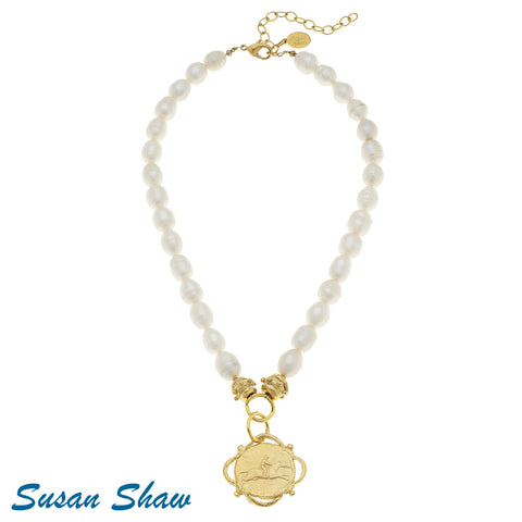 Susan Shaw Handcast Gold Equestrian Freshwater Necklace
