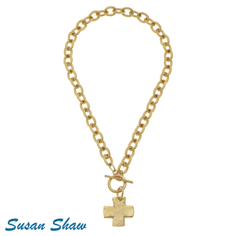 Susan Shaw Handcast Gold Cross Toggle Necklace