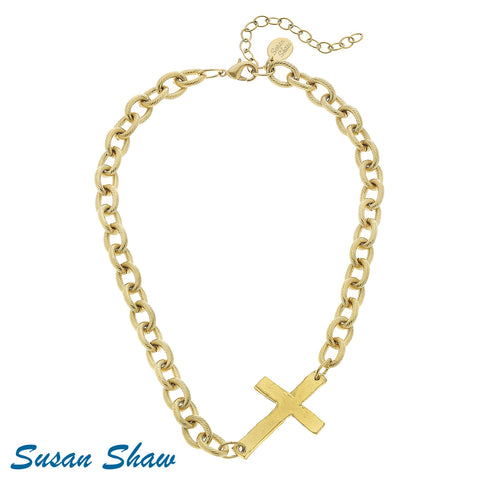 Susan Shaw Handcast Gold Sideways Cross Necklace