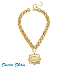 Susan Shaw Handcast Gold Square Bee Necklace