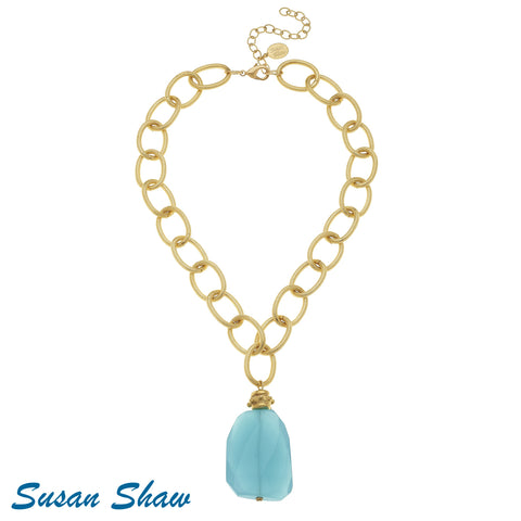 Susan Shaw Handcast Gold with Aqua Quartz Necklace