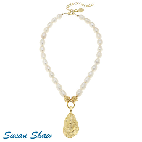 Susan Shaw Genuine Freshwater Pearl Oyster Shell Necklace
