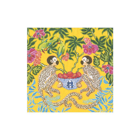 Caspari Monkeys Paper Cocktail Napkins in Yellow - 20 Per Package