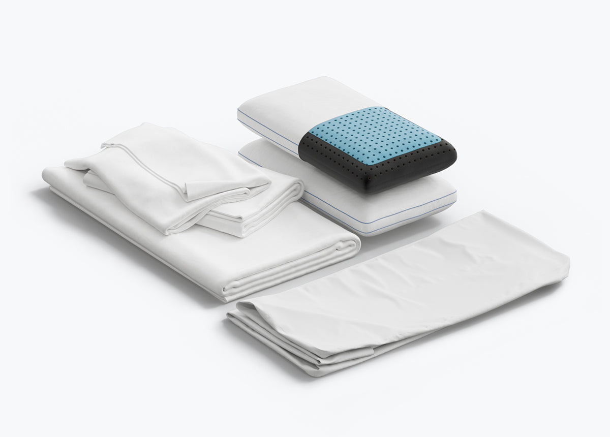 Eight Sleep - Sleep Essentials Bundle showing pillows, sheets, and protector - thumbnail