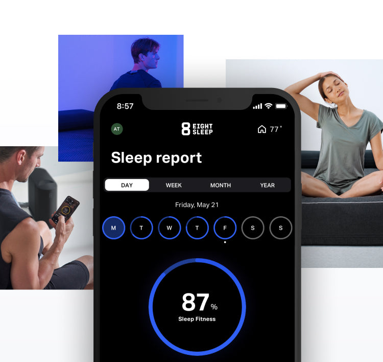 Mobile phone overlayed over multiple images of people laying on the Pod while enjoying the features SleepOS provides.