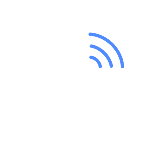 Phone icon - phone with blue lines in grey circle