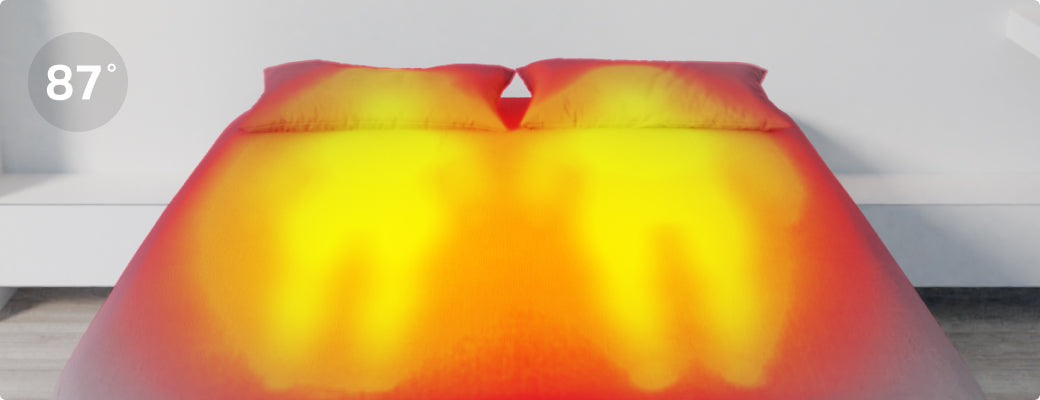 Thermal image showing normal mattress overheating from body heat