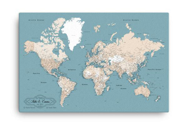World Map With Push Pins - Comes With 10 Different Pin Colors!
