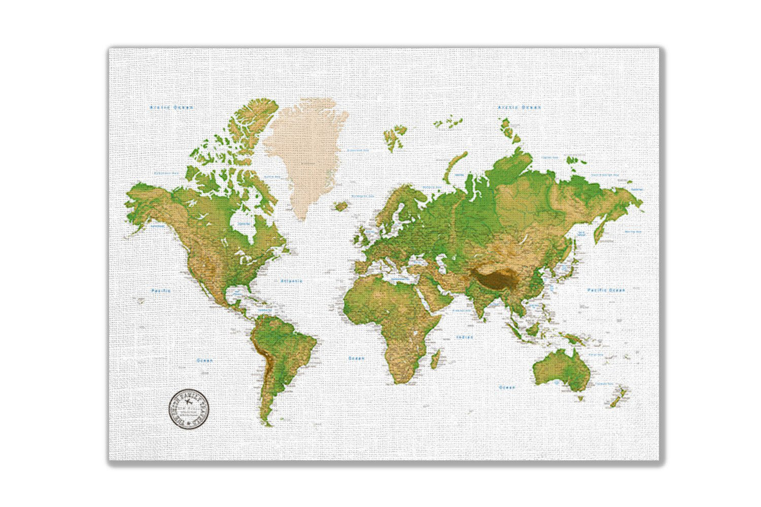 Personalized World Travel Map Tracker - Topographic