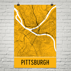 Pittsburgh PA Street Map Poster Yellow With Black Roads