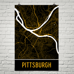 Pittsburgh PA Street Map Poster Black With Yellow Roads