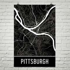 Pittsburgh PA Street Map Poster Black With White Roads