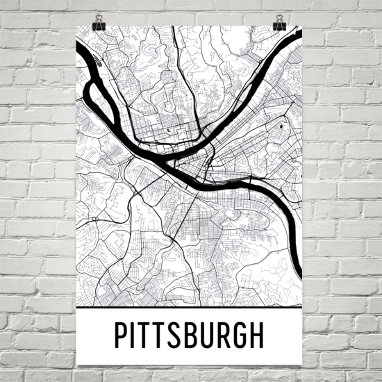 Pittsburgh PA Street Map Poster White With Black Roads