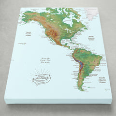 Americas Push Pin Map - Topographic - With 1,000 Pins!