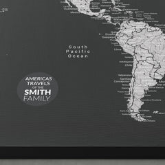 Americas Push Pin Map - Black and Grey - With 1,000 Pins!