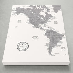 Americas Push Pin Map - White - With 1,000 Pins!