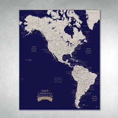 Americas Push Pin Map - Navy blue - With 1,000 Pins!