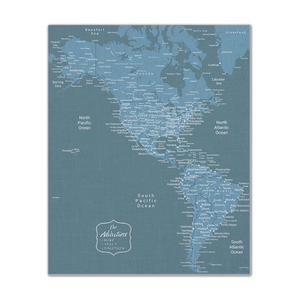 Americas Push Pin Map - Blue - With 1,000 Pins!