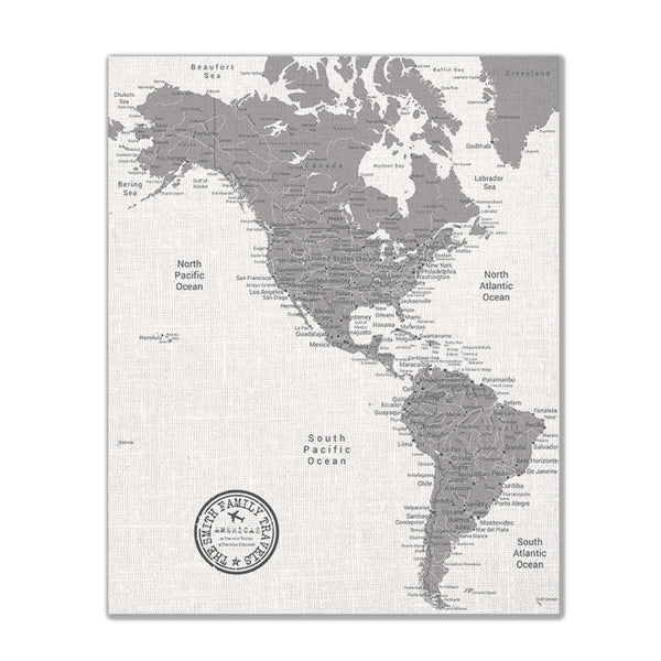 Americas Push Pin Map - Grey - With 1,000 Pins!