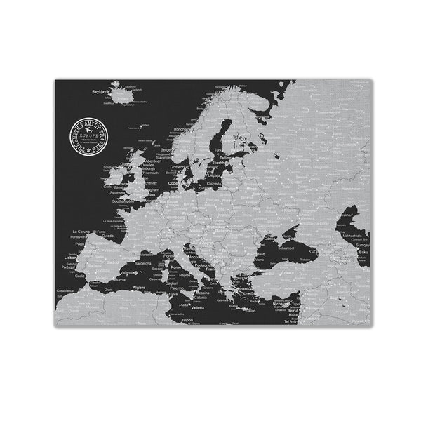 Europe Push Pin Map - Black and Grey - WITH 1,000 PINS!