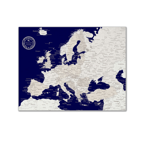 Europe Push Pin Map - Navy blue - WITH 1,000 PINS!