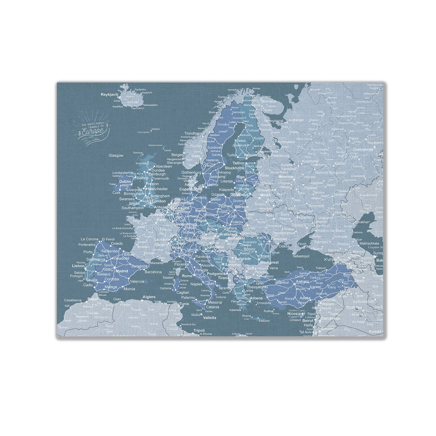 Europe Push Pin Map - Blue - WITH 1,000 PINS!