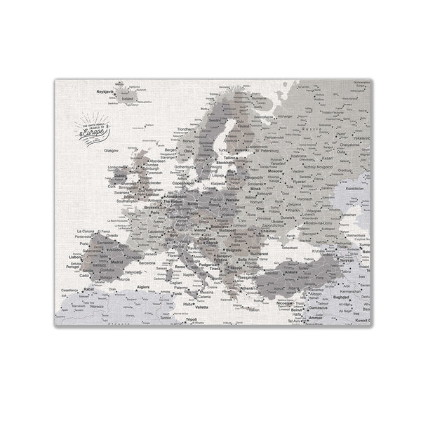 Europe Push Pin Map - Grey - WITH 1,000 PINS!