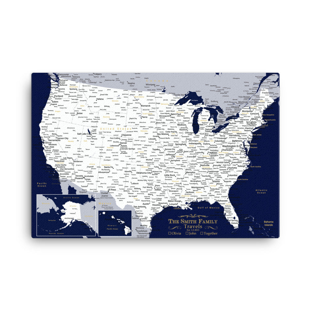 Push Pin Navy Travel Map USA - With 1,000 Pins!