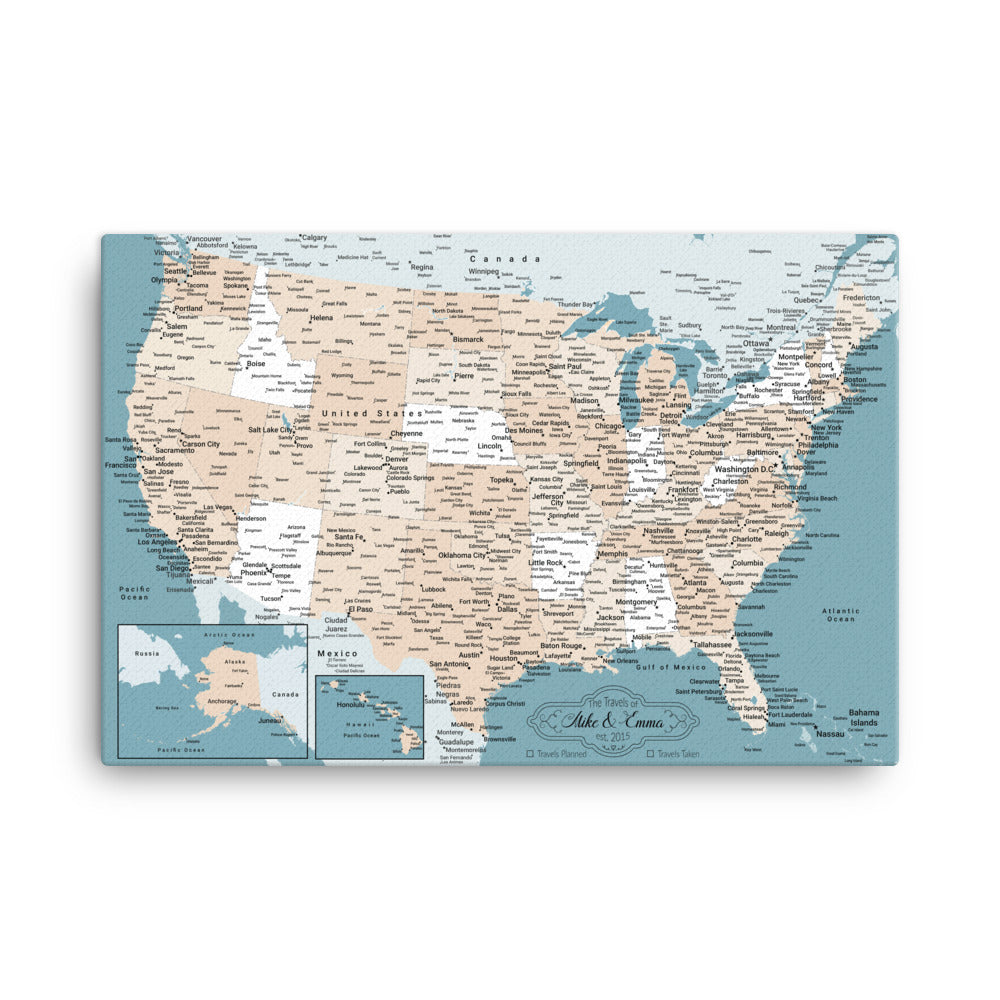 Map Of USA With 1,000 Pins - Great Gift!