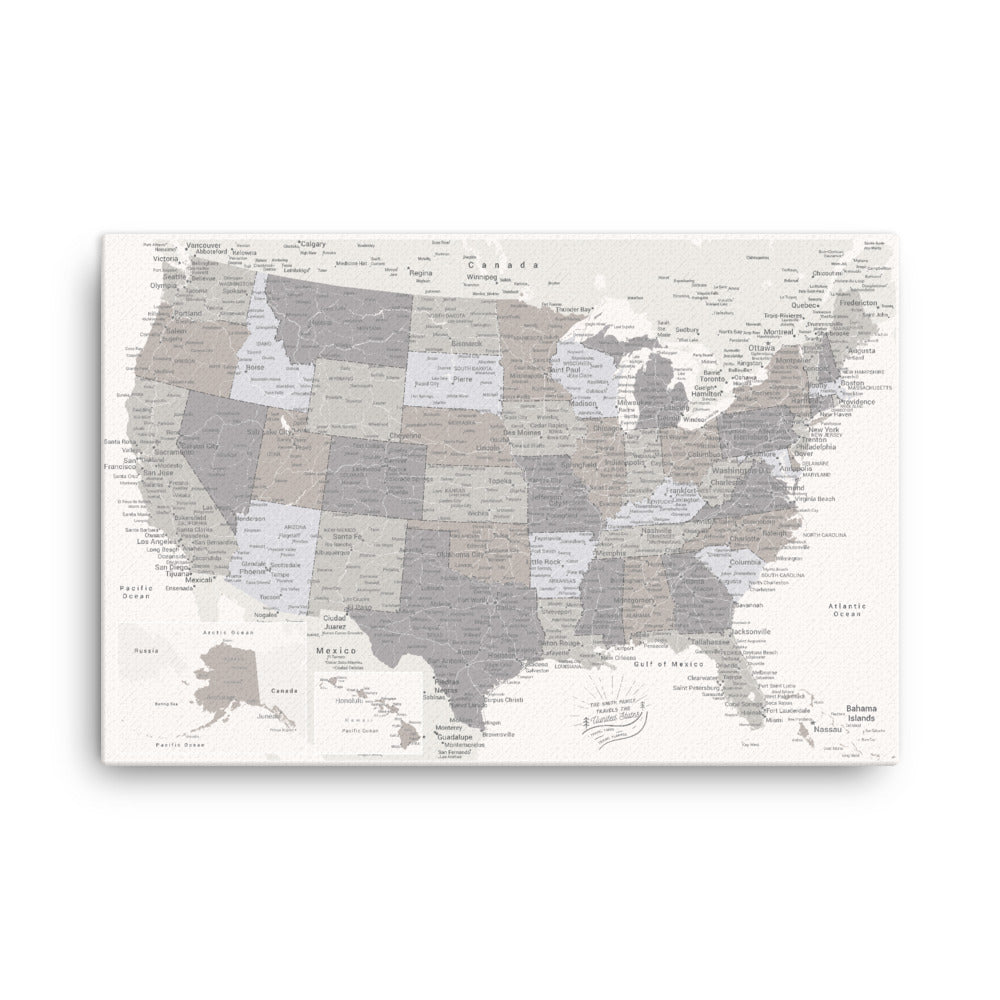 US Push Pin Map - White
