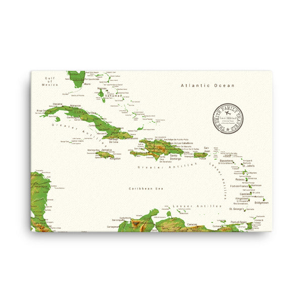 Caribbean Push Pin Map - Topographic - With 1,000 Pins!