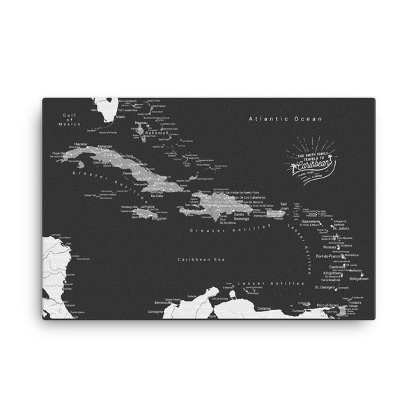 Caribbean Push Pin Map - Black and Grey - With 1,000 Pins!