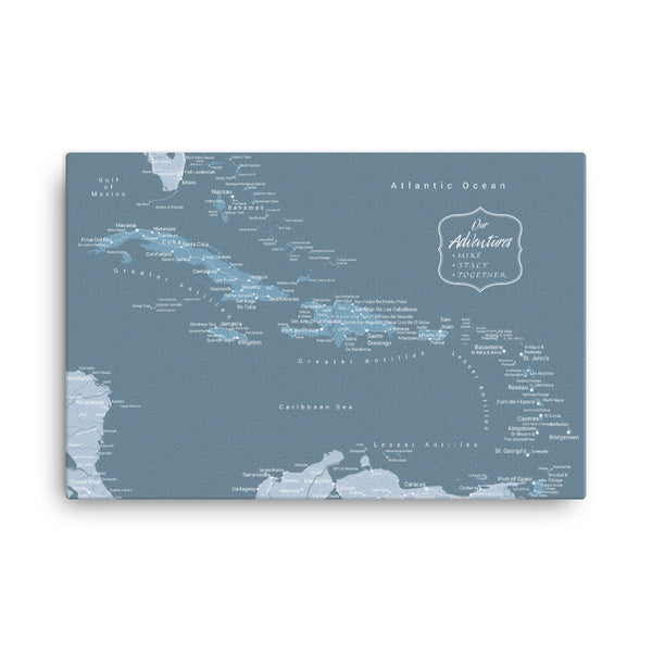 Caribbean Push Pin Map - Blue - With 1,000 Pins!