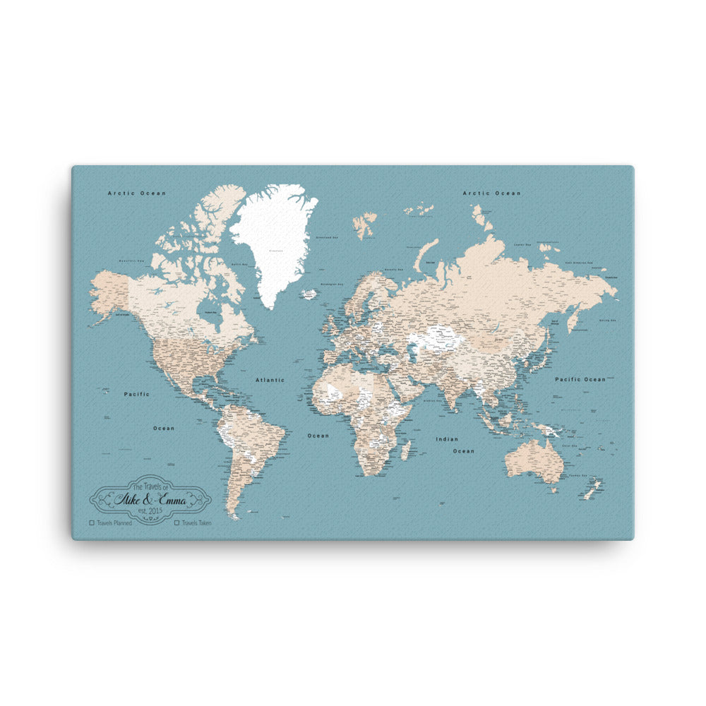 Framed World Map With Push Pins Comes With 10 Different Pin Colors