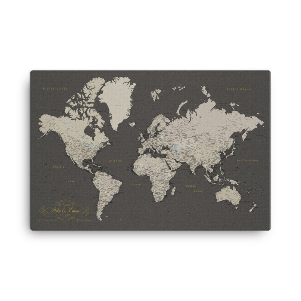 World Map Pushpin Board - Brown and Tan