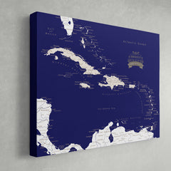Caribbean Push Pin Map - Navy blue - With 1,000 Pins!