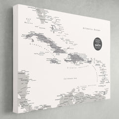 Caribbean Push Pin Map - White - With 1,000 Pins!