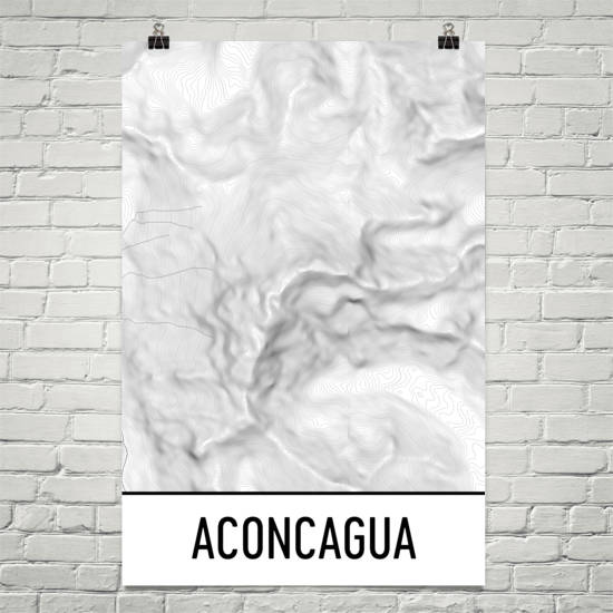 Aconcagua Topographic Map Art