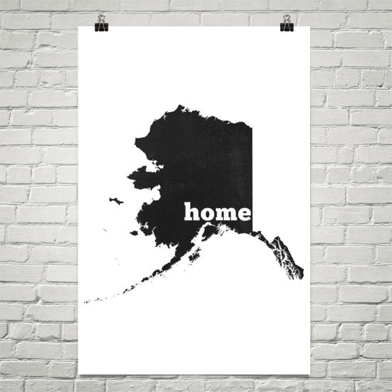 Alaska Home State Map Art