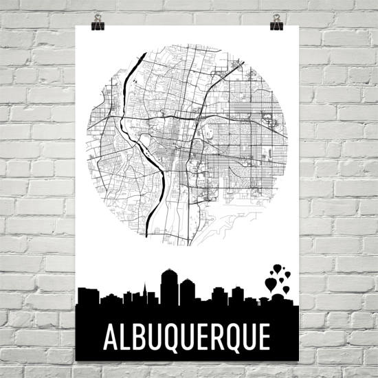 Albuquerque Skyline Silhouette Art Prints
