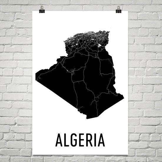 Algeria Wall Map Print - Modern Map Art