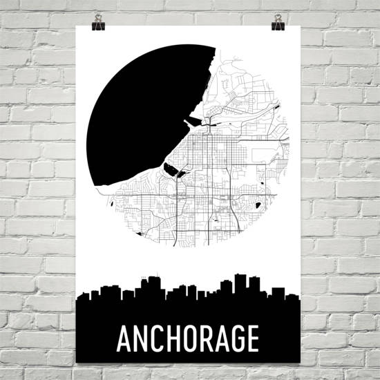 Anchorage Skyline Silhouette Art Prints
