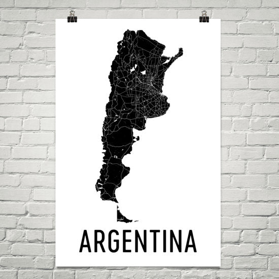 Argentina Wall Map Print - Modern Map Art