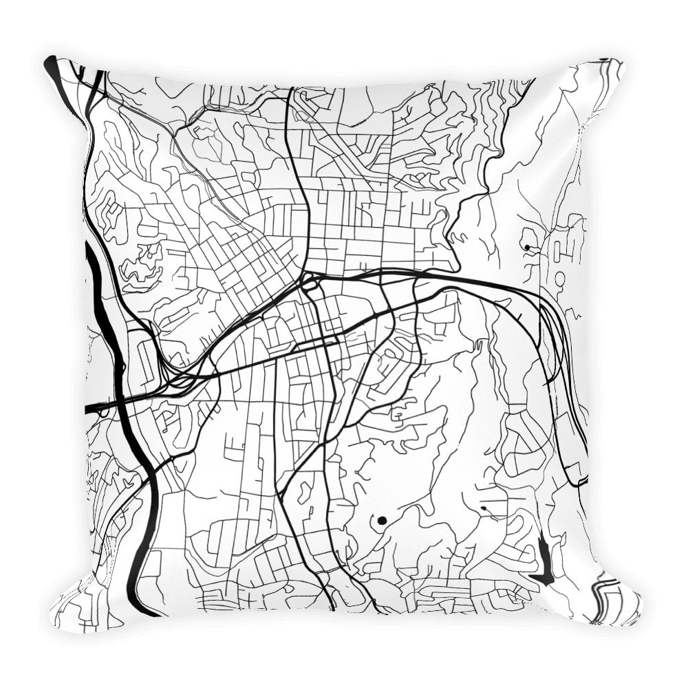 Asheville Map Pillow – Modern Map Art