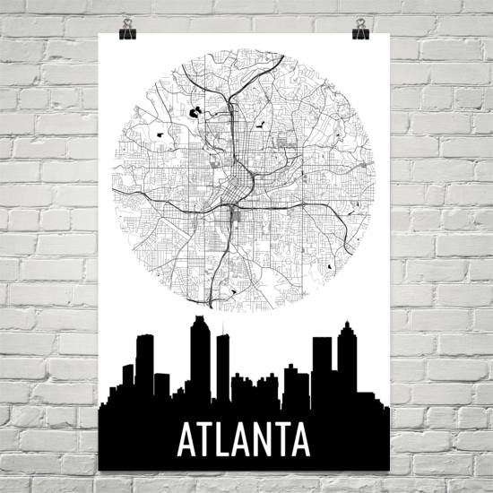 Atlanta Skyline Silhouette Art Prints