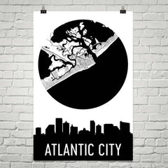 Atlantic City Skyline Silhouette Art Prints