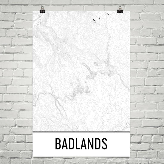 Badlands National Park Topographic Map Art